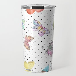 Colorful pink teal watercolor hand painted butterfly polka dots Travel Mug