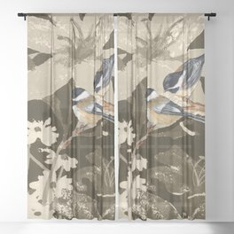 Bird-Chickadees with Lillies Sheer Curtain