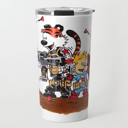 Calvin and Hobbes Inspired Hero Parody Travel Mug