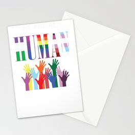 We are all Human. Hands Colorful Transgender Stationery Cards