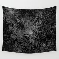 north carolina Wall Tapestries featuring raleigh map north carolina by Line Line Lines
