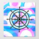 Ship's wheel on abstract marine background by cocodes