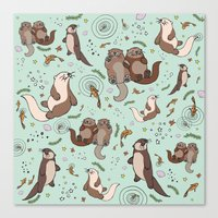 otters Canvas Prints featuring Sea Otters by Nemki