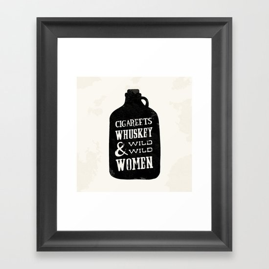 Cigareets & whuskey Framed Art Print