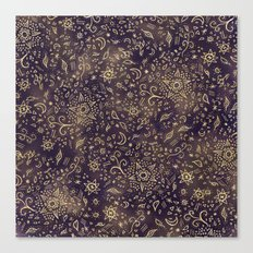 Modern hand drawn doodles esoteric stars flowers gold on purple batik watercolor Canvas Print