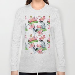 Pattern with cranes and lotuses Long Sleeve T-shirt