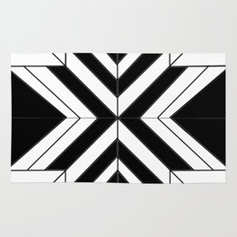Black White Abstract Rug