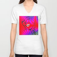 palms V-neck T-shirts featuring Palms by HebeTees