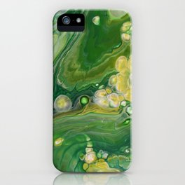 Take Five II -  Green Yellow Fluid Marble Painting iPhone Case