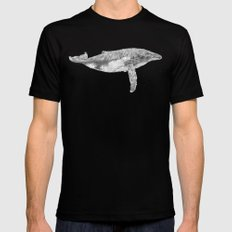 A Humpback Whale MEDIUM Black Mens Fitted Tee
