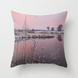 Winter Sunset At River Bank Throw Pillow