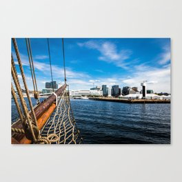 Boat Sailing on Oslo Fjord Canvas Print