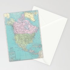 Vintage North America Map Stationery Cards