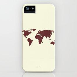 World Map -  Crimson Red on Cream Linen iPhone Case