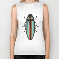 beetle Biker Tanks featuring Beetle  by Juliana Zimmermann