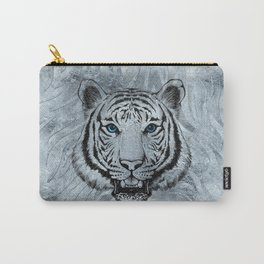 White Tiger on Frost glass background Carry-All Pouch