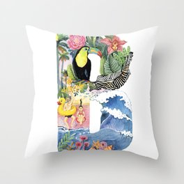 letter B tropical summer and toucan Alphabet Throw Pillow