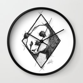 Panda Handmade Drawing, Made in pencil, charcoal and ink, Tattoo Sketch, Tattoo Flash, Sketch Wall Clock