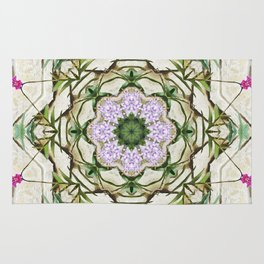 Orchids And Stone Wall Kaleidoscope 1764 Rug