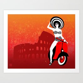 Vespa Woman Art Print