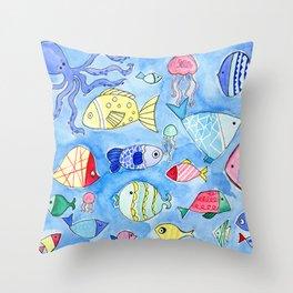 Aquarium Fish for Summer Throw Pillow