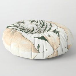 White Tiger Sepia Litograph Style Floor Pillow