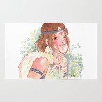princess mononoke Area & Throw Rugs featuring Princess Mononoke by Ékara
