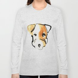 Black Ink and Watercolor Jack Russell Terrier Dog Long Sleeve T-shirt