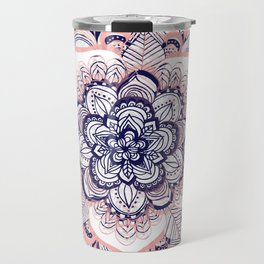 Woven Dream - Mandala in Pink, White and deep Purple Travel Mug