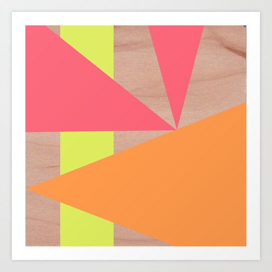 Maple Wood Abstract (Pink & Orange) Art Print