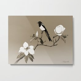 Magpie and Magnolia Metal Print