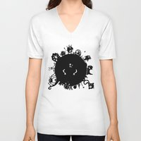 aliens V-neck T-shirts featuring Aliens On Aliens! by Aaron Lin