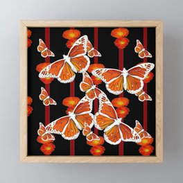 WHITE MONARCH BUTTERFLIES ORANGE POPPIES BLACK Framed Mini Art Print