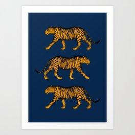 Tigers (Navy Blue and Marigold) Art Print