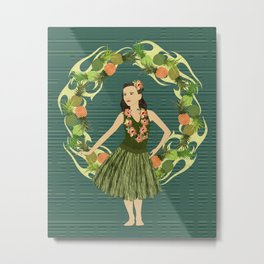 Hula Pineapple Wreath Metal Print