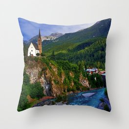 Mountain Church Throw Pillow
