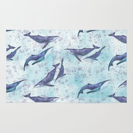 Big space whales light blue pattern Rug