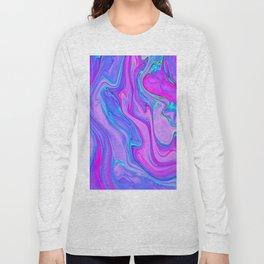 Blue& Magenta Marble Long Sleeve T-shirt