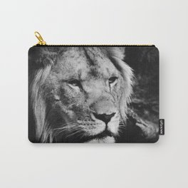 African Lion Black and White Photographic Print Carry-All Pouch