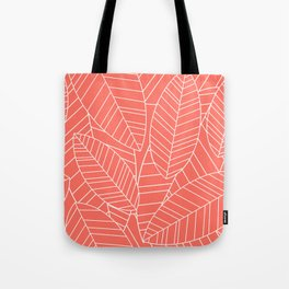Coral Tropical Palm Leaves Pattern Tote Bag