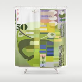 50 Swiss Francs Note Bill Shower Curtain
