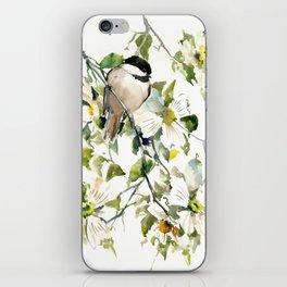 chickadee and dogwood, chickadee art design floral iPhone Skin