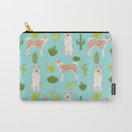 Akita cactus southwest dog pattern dog breed pet portraits by pet friendly Carry-All Pouch