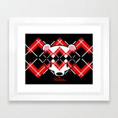 Aaargyle Kuma-chan Red & Blk Framed Art Print
