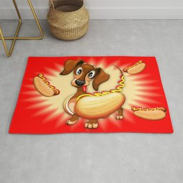 Dachshund Hot Dog Cute and Funny Character Rug