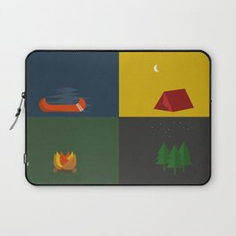 Camping Series: Canoe, Tent, Fire, Trees Laptop Sleeve