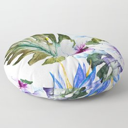 Watercolor Tropical Hibiscus Floor Pillow