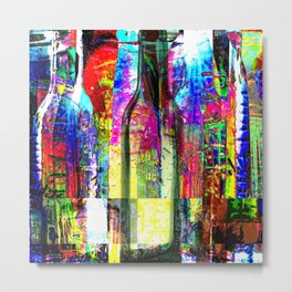 Colorful Glass Bottles Collage Metal Print