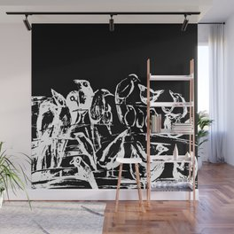 Birds black and white design, birds drawing, black and white illustration Wall Mural