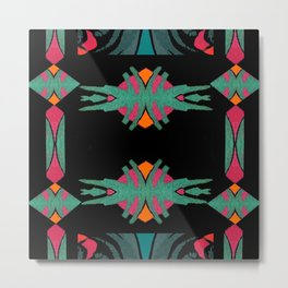 Indian Sunset on Orange,Teal,Pink,Black,Blue Metal Print